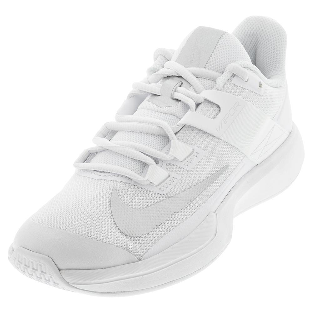 Women's Vapor Lite Tennis Shoes White And Metallic Silver