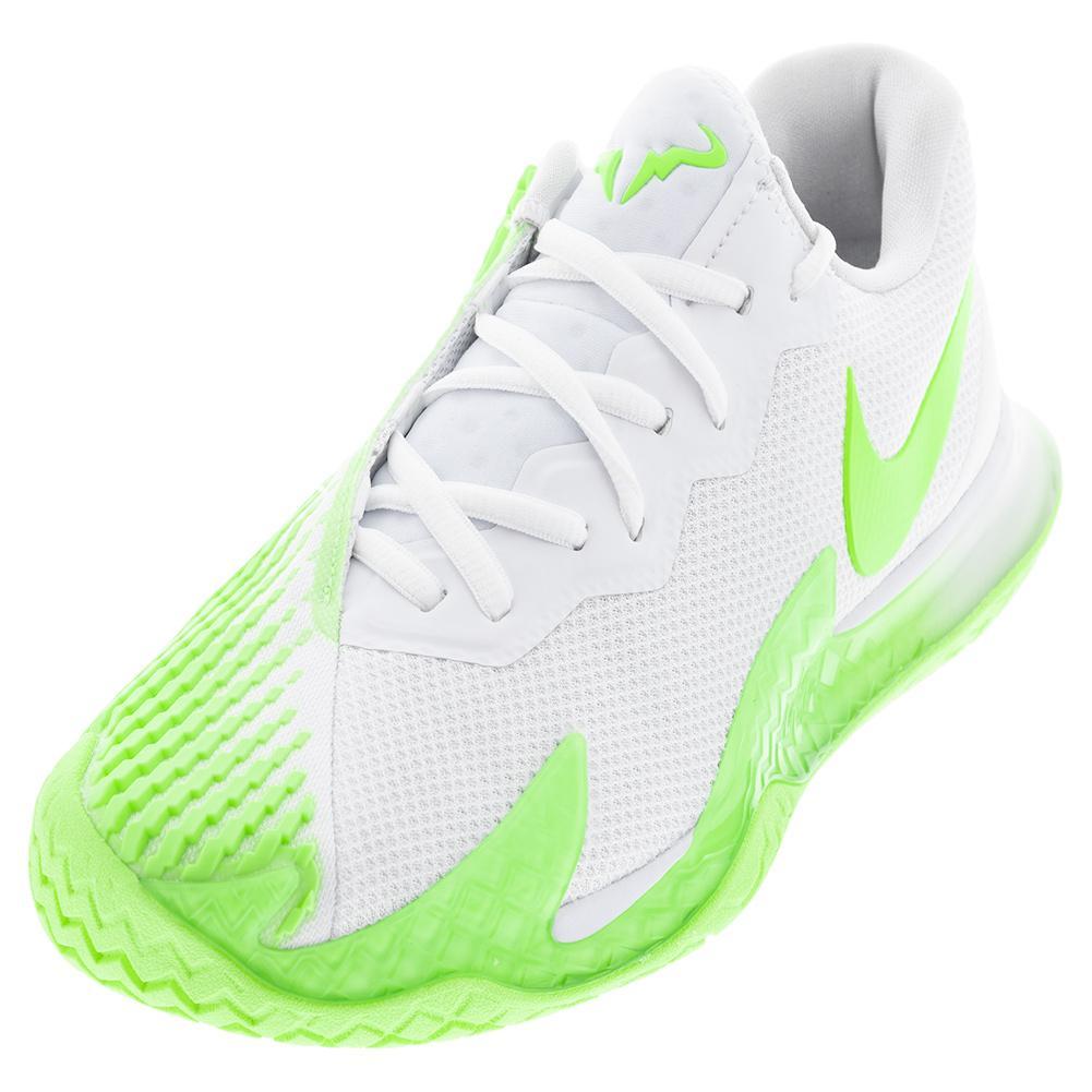 Men's Rafa Court Zoom Vapor Cage 4 Tennis Shoes White And Lime Glow
