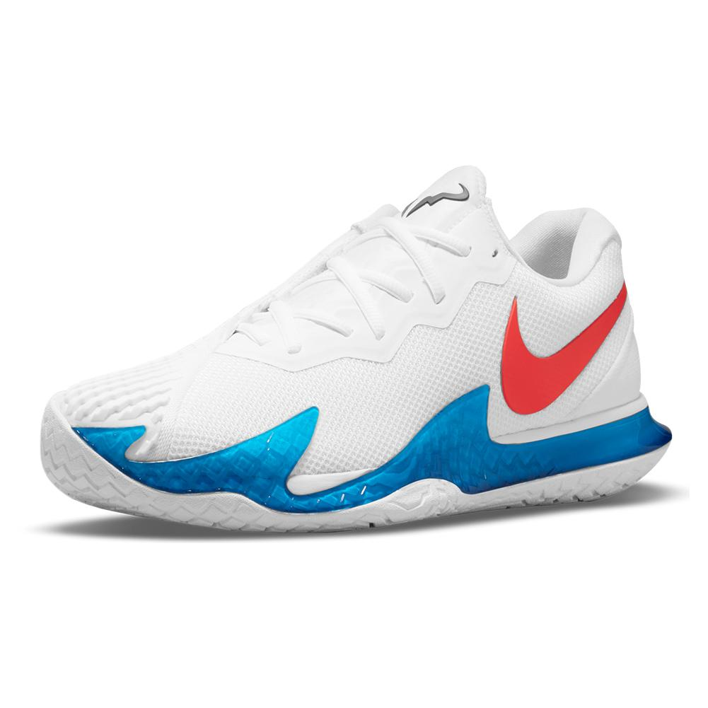Men's Rafa Zoom Vapor Cage 4 Tennis Shoes White And Chile Red
