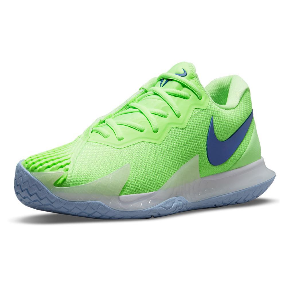 Men's Rafa Zoom Vapor Cage 4 Tennis Shoes Lime Glow And Hyper Blue