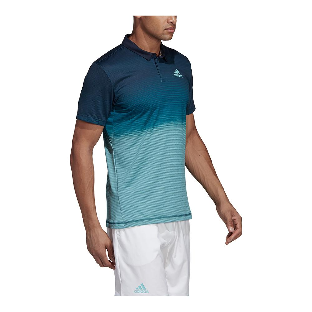 Adidas Men`s Parley Tennis Polo Blue Spirit and Petrol Night