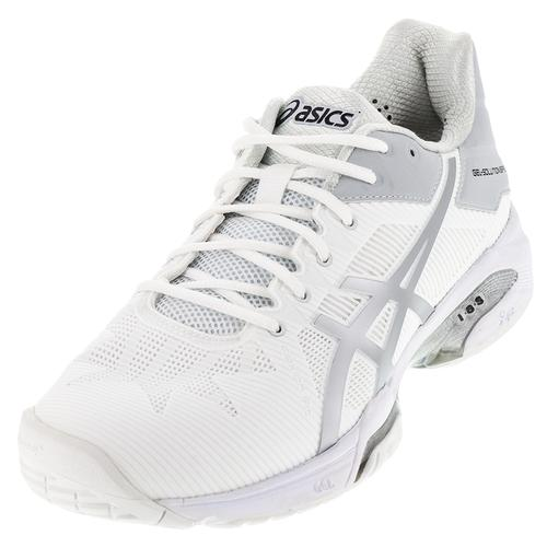 Men's Gel- Solution Speed 3 Tennis Shoes White And Silver