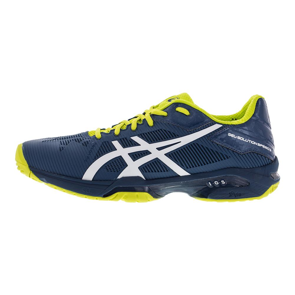 Asics Men S Gel Solution Speed 3 Tennis Shoes Ink Blue And White