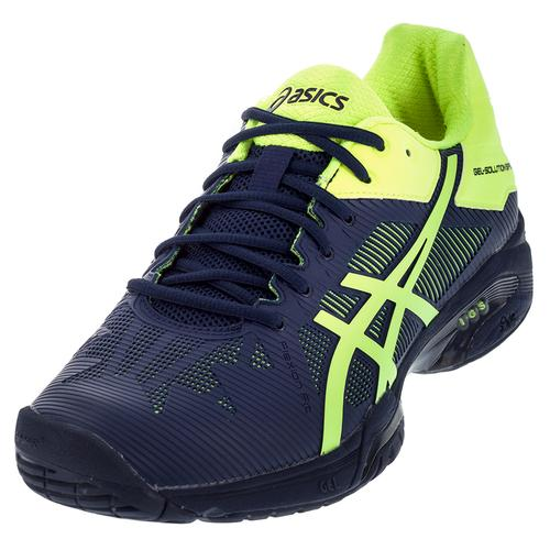 Men's Gel- Solution Speed 3 Tennis Shoes Indigo Blue And Safety Yellow