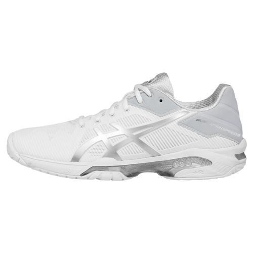 9aa10246 ASICS Women's Gel-Solution Speed 3 Tennis Shoes White and Silver