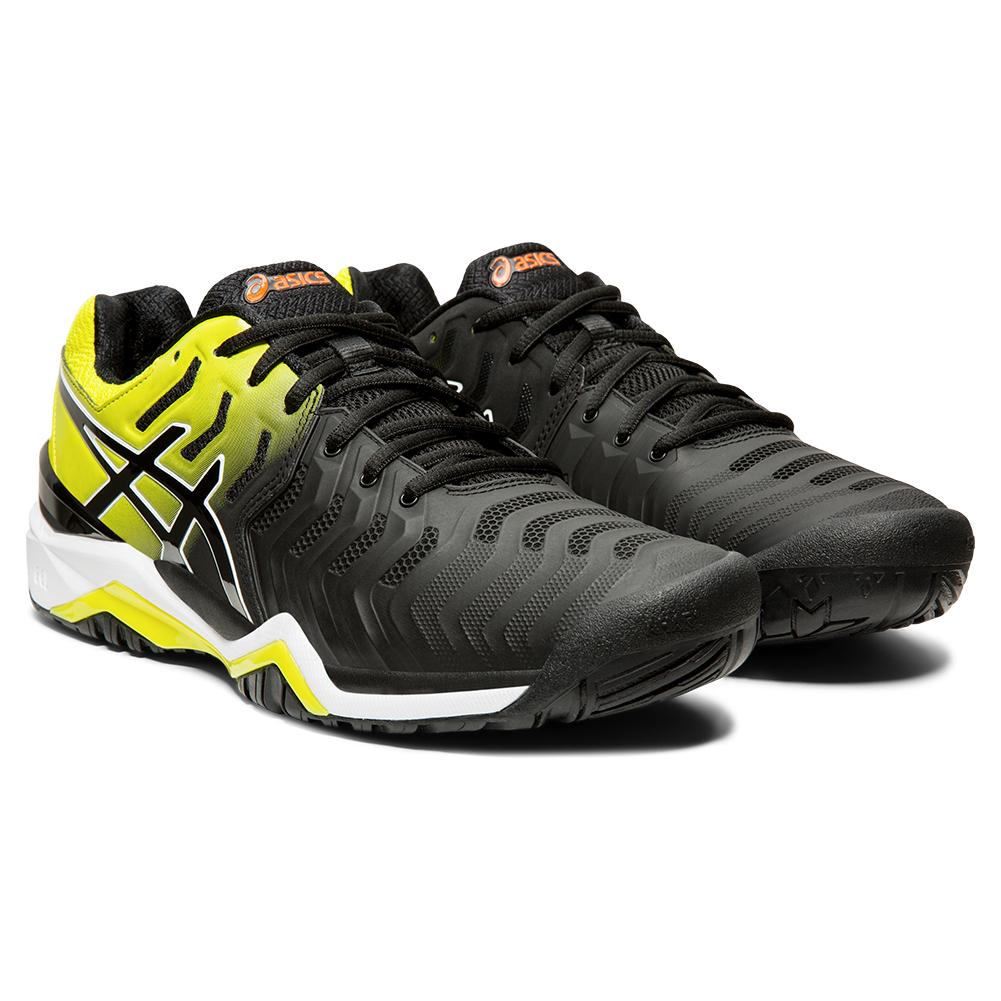 Men's Gel- Resolution 7 Tennis Shoes Black And Sour Yuzu