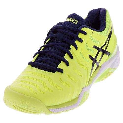 Men's Gel- Resolution 7 Tennis Shoes Safety Yellow And Indigo Blue