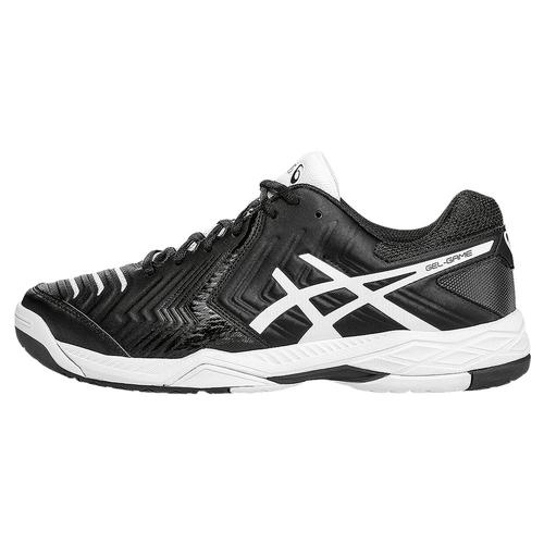 asics s gel 6 tennis shoes black and white