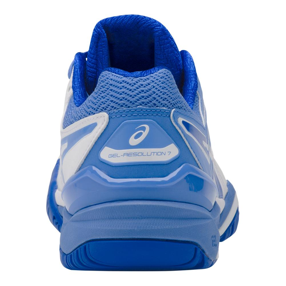 f87c532edc9d Women s Gel- Resolution 7 Tennis Shoes White And Blue Coast. Zoom. Hover to  zoom click to enlarge. 360 View