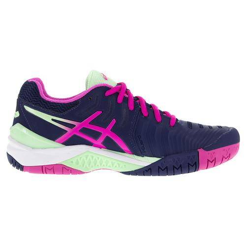 2f6de73f2924 Women s Gel- Resolution 7 Tennis Shoes Indigo Blue And Pink Glow. Zoom.  Hover to zoom click to enlarge