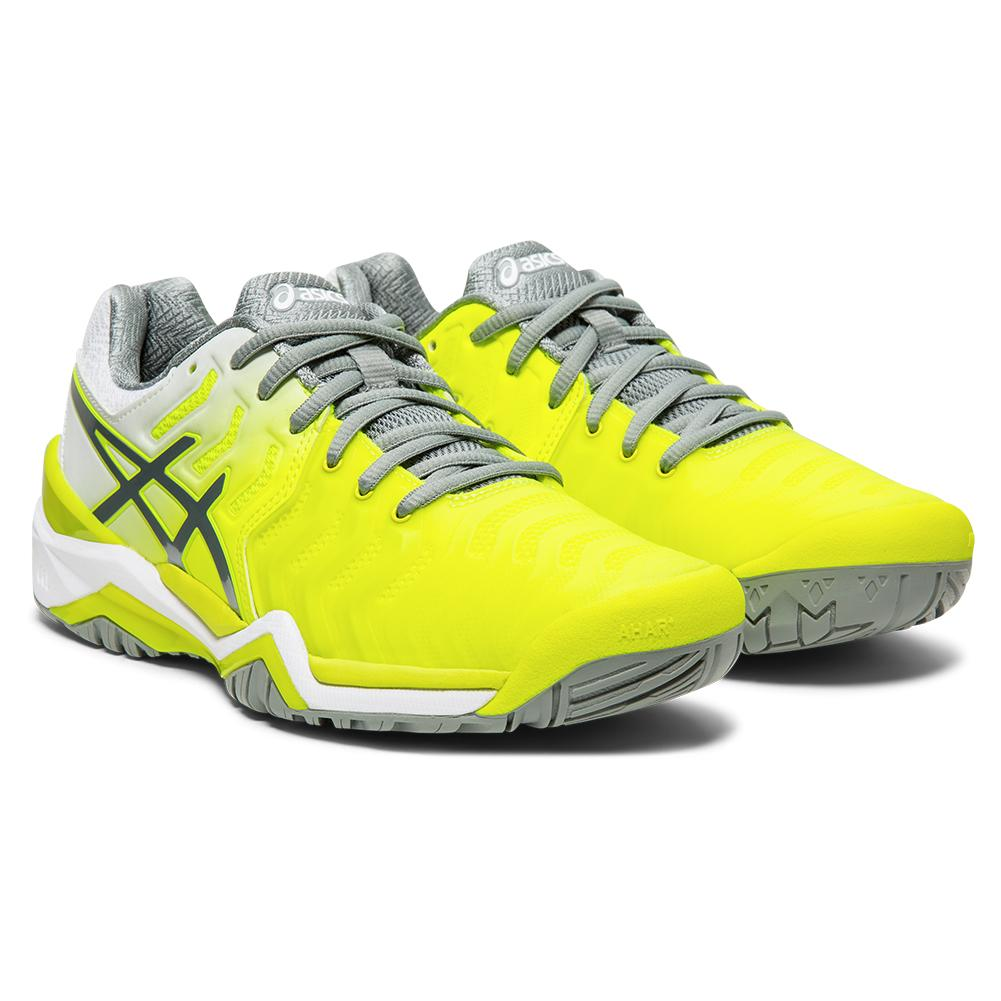 Women's Gel- Resolution 7 Tennis Shoes Safety Yellow And Stone Gray