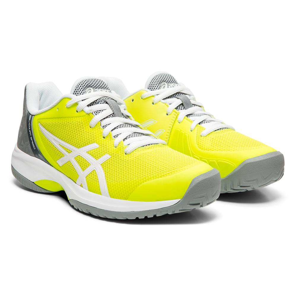 Women's Gel- Court Speed Tennis Shoes Safety Yellow And Stone Gray