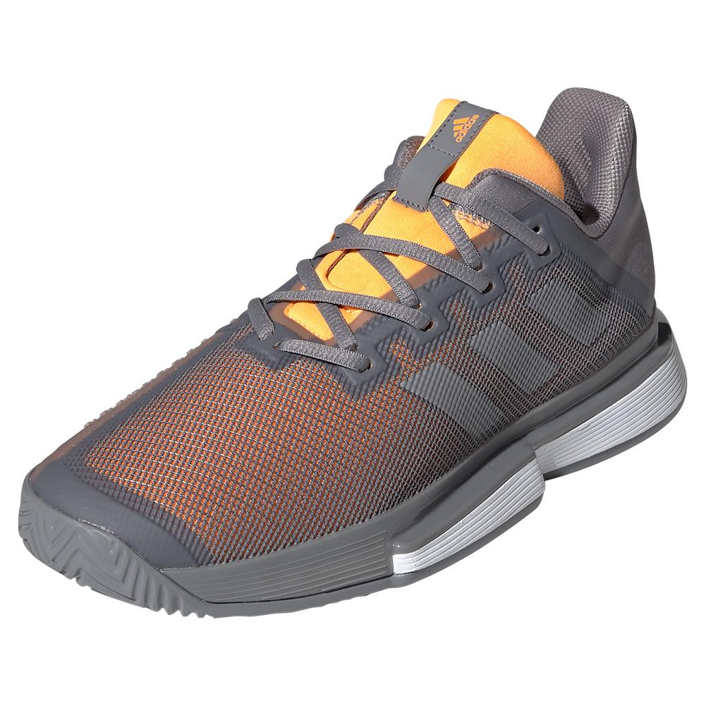 Men's Solematch Bounce Tennis Shoes Gray Three And Solar Orange