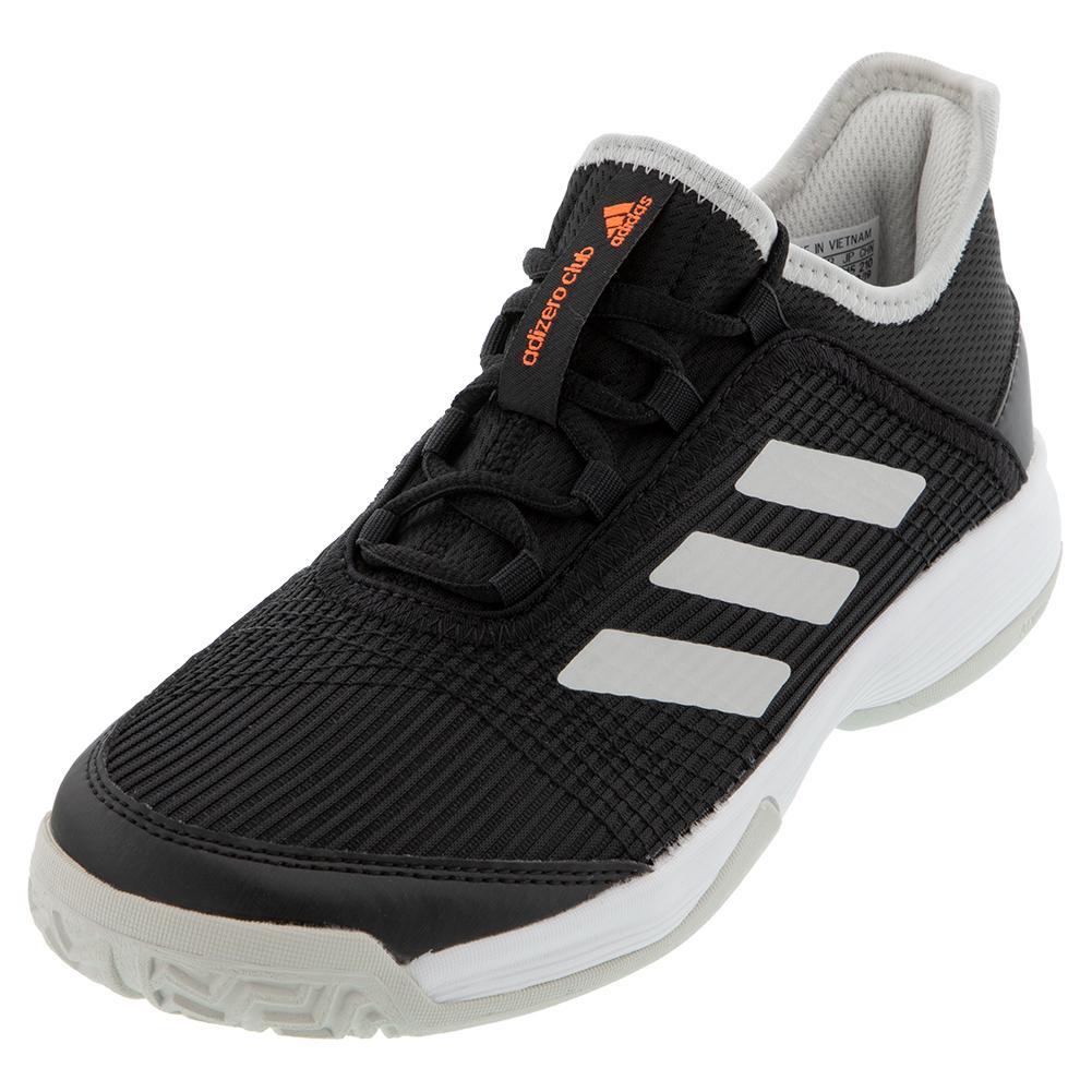 Juniors ` Adizero Club K Tennis Shoes Core Black And White