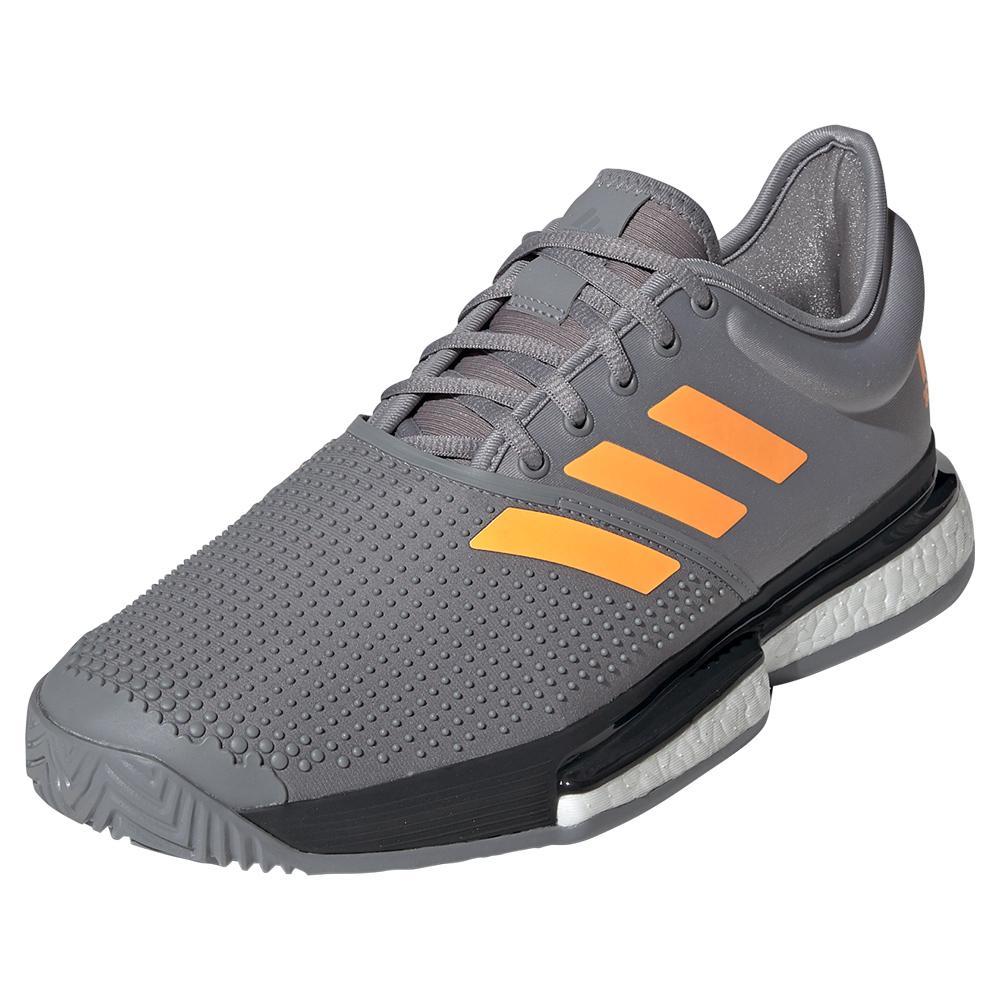 Men's Solecourt Boost Tennis Shoes Gray Three And Flash Orange