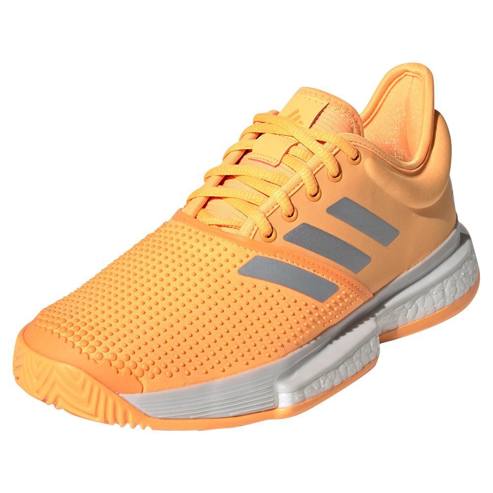 Women's Solecourt Boost Tennis Shoes Flash Orange And White