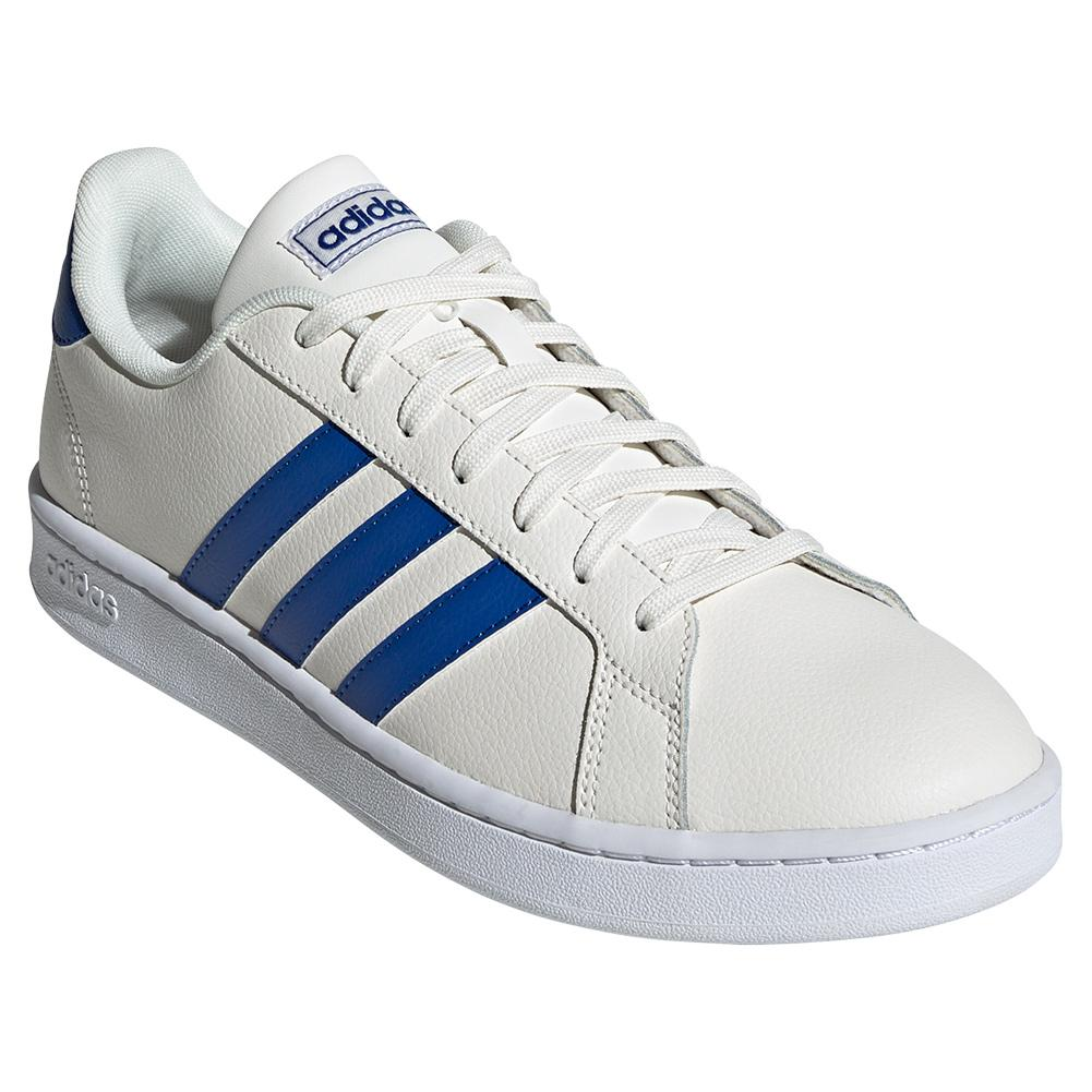 Men's Grand Court Tennis Shoes Cloud White And Royal Blue