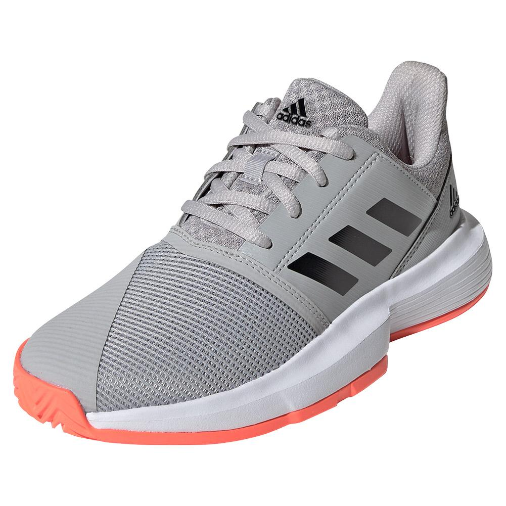 Juniors ` Courtjam Xj Tennis Shoes Gray Two And Core Black