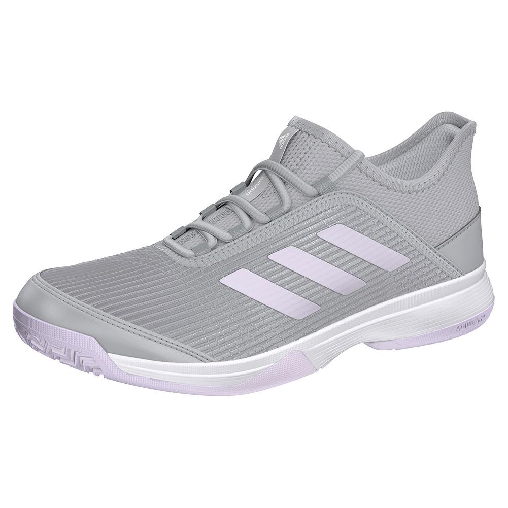 Juniors ` Adizero Club K Tennis Shoes Gray Two And Purple Tint