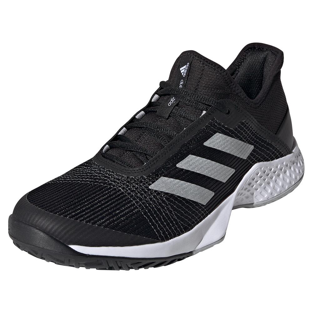 Men's Adizero Club 2 Tennis Shoes Black And Silver Metallic