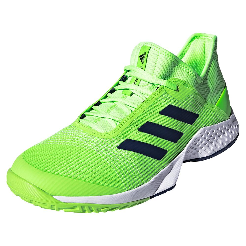 Men's Adizero Club 2 Tennis Shoes Signal Green And White