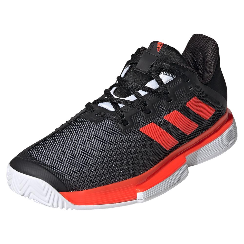 Men's Solematch Bounce Tennis Shoes Black And Solar Red