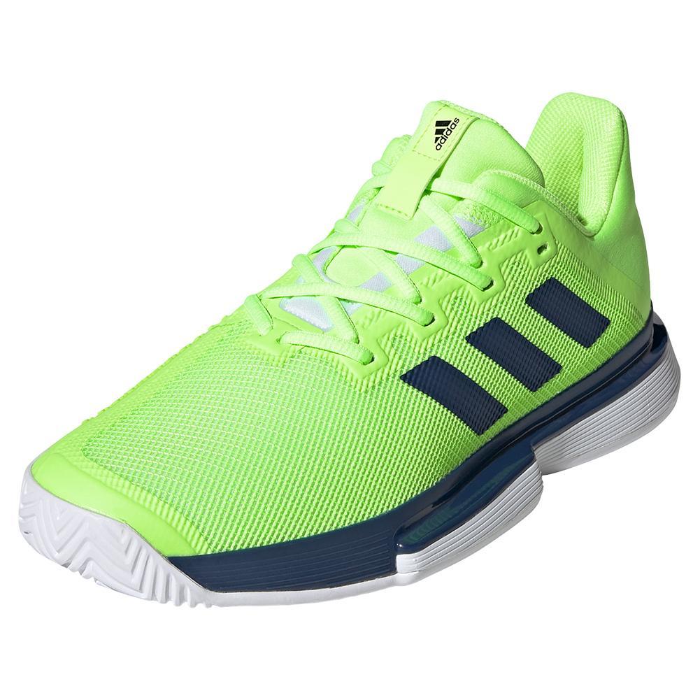 Men's Solematch Bounce Tennis Shoes Tech Indigo And Signal Green