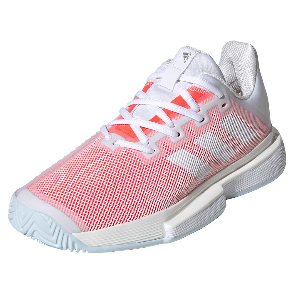 Women's Solematch Bounce Tennis Shoes White And Signal Pink
