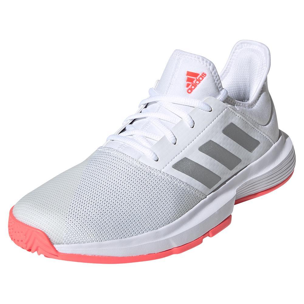 Women's Gamecourt Tennis Shoes White And Silver Metallic