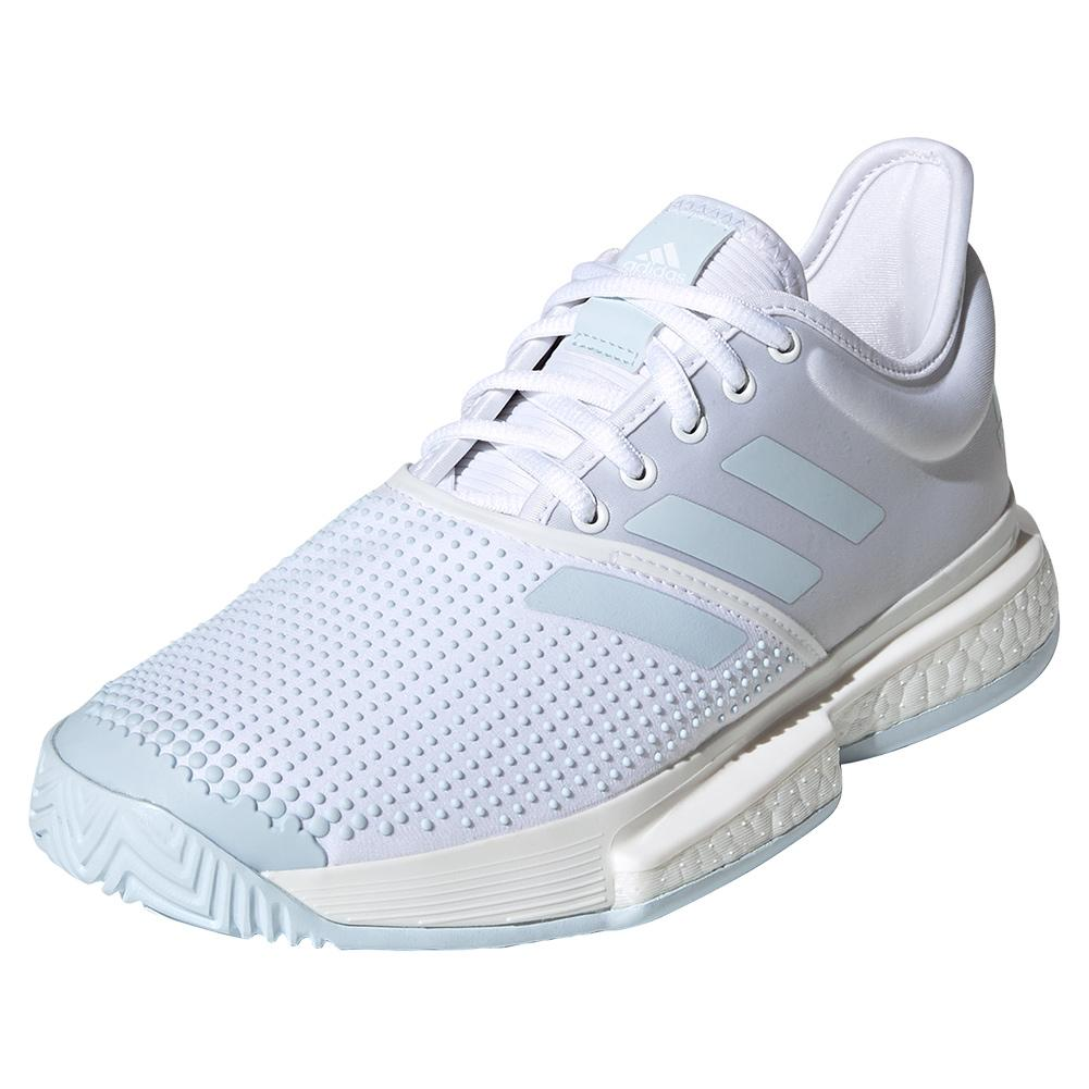 Women's Solecourt Boost Parley Tennis Shoes White And Sky Tint
