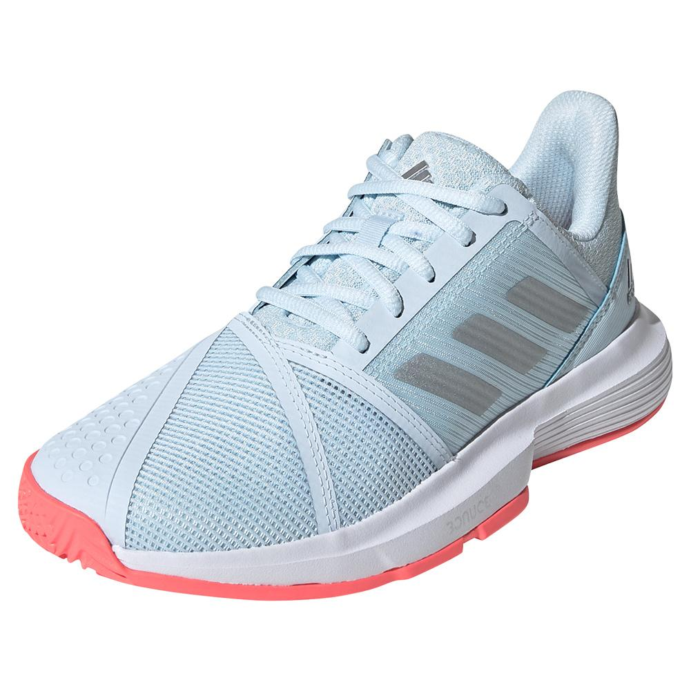 Women's Courtjam Bounce Tennis Shoes Sky Tint And Silver Metallic