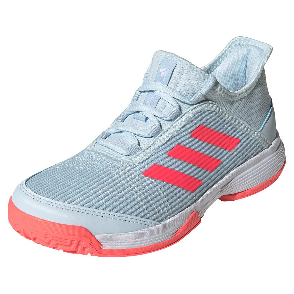 Juniors ` Adizero Club K Tennis Shoes Sky Tint And Signal Pink