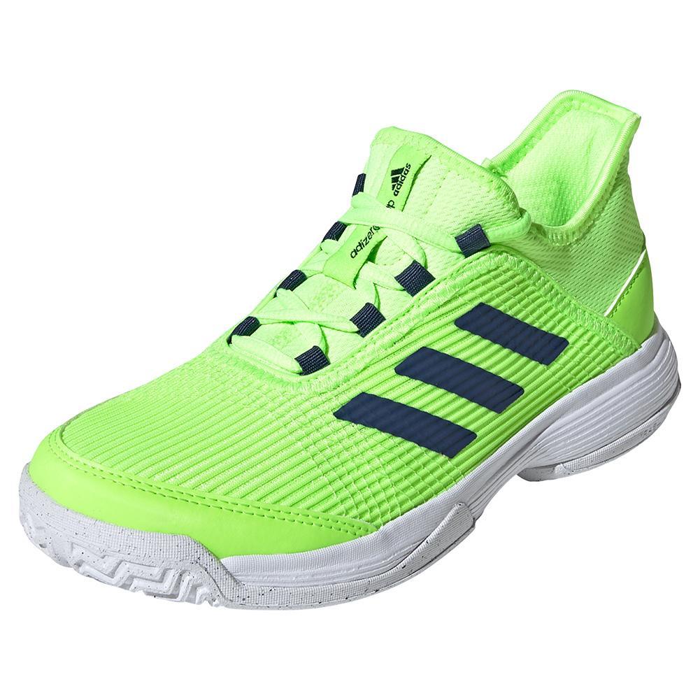 Juniors ` Adizero Club K Tennis Shoes Signal Green And White