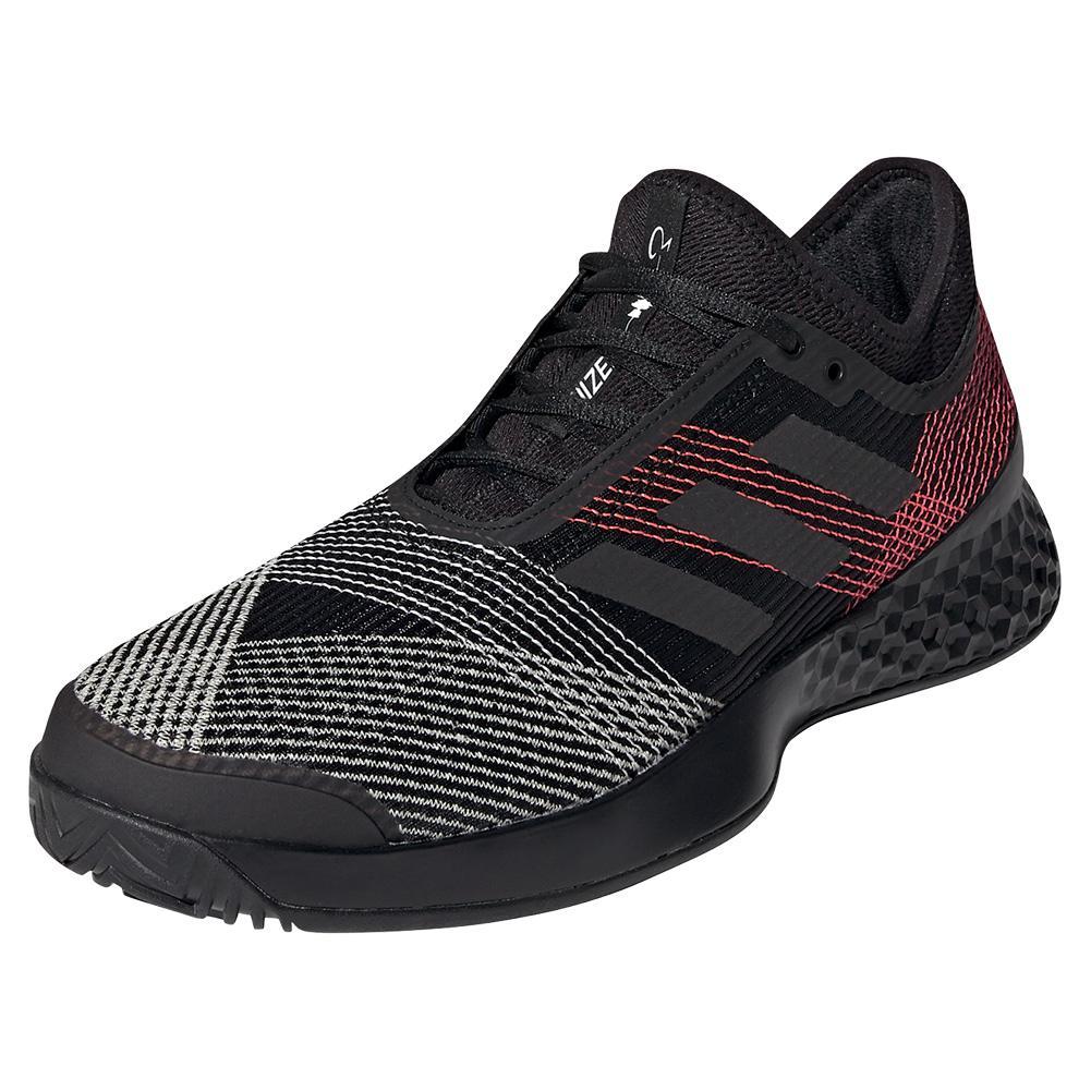 Men's Adizero Ubersonic 3 Tennis Shoes Black And Signal Pink