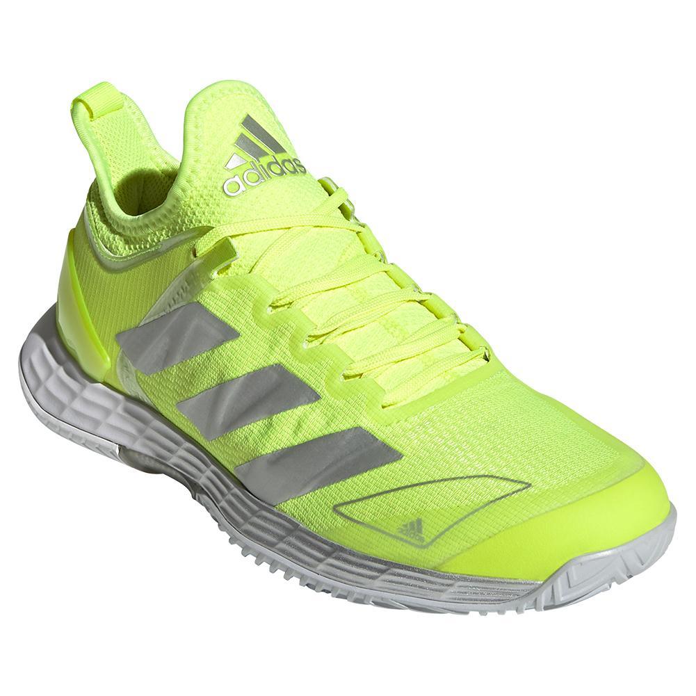 Women's Adizero Ubersonic 4 Tennis Shoes Solar Yellow And Silver Metallic