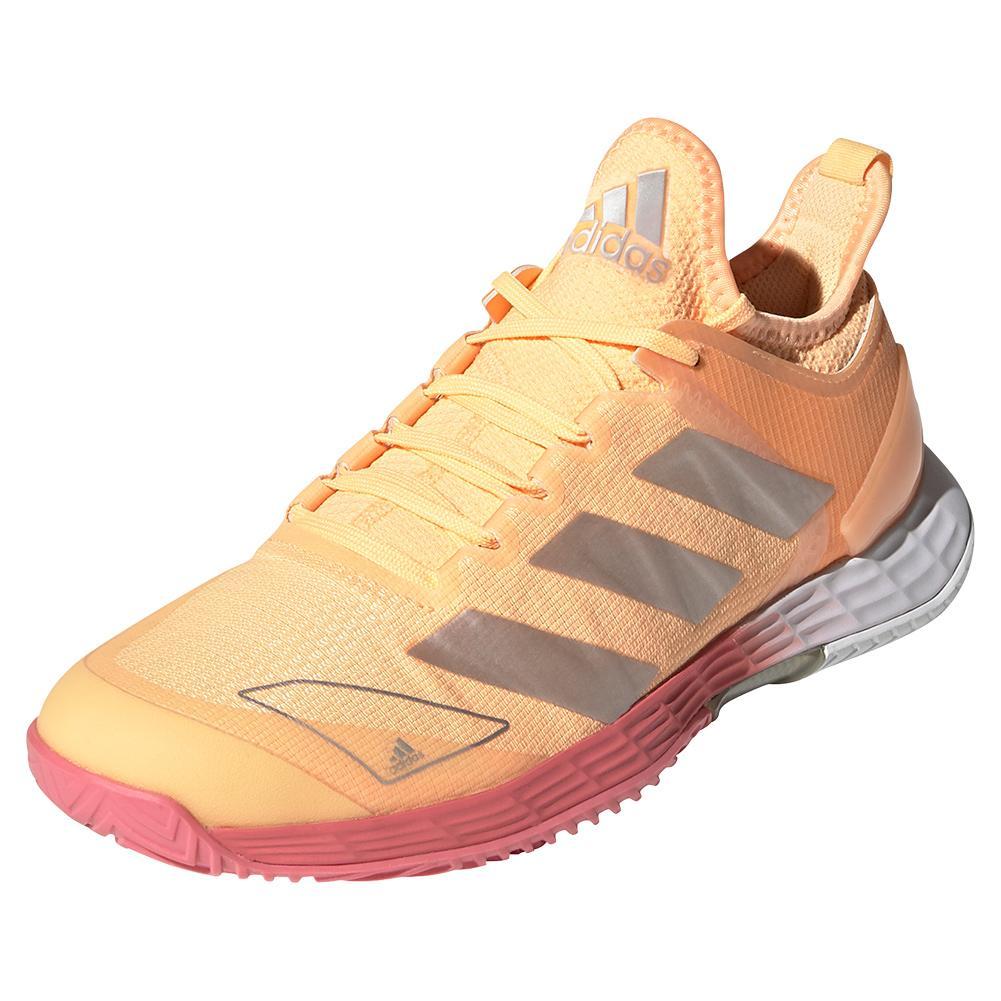 Women's Adizero Ubersonic 4 Tennis Shoes Acid Orange And Silver Metallic