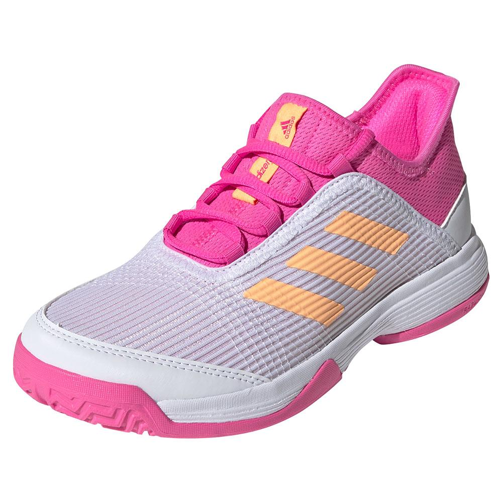 Juniors ` Adizero Club K Tennis Shoes Footwear White And Acid Orange