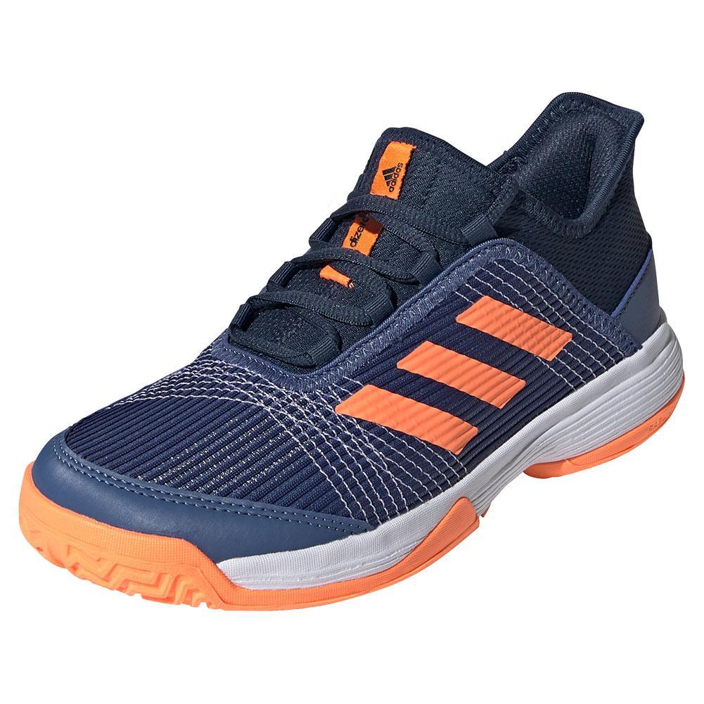 Juniors ` Adizero Club K Tennis Shoes Crew Navy And Screaming Orange