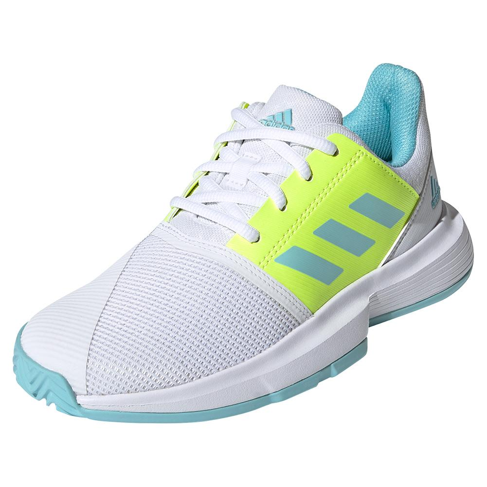 Juniors ` Courtjam Xj Tennis Shoes Footwear White And Hazy Sky