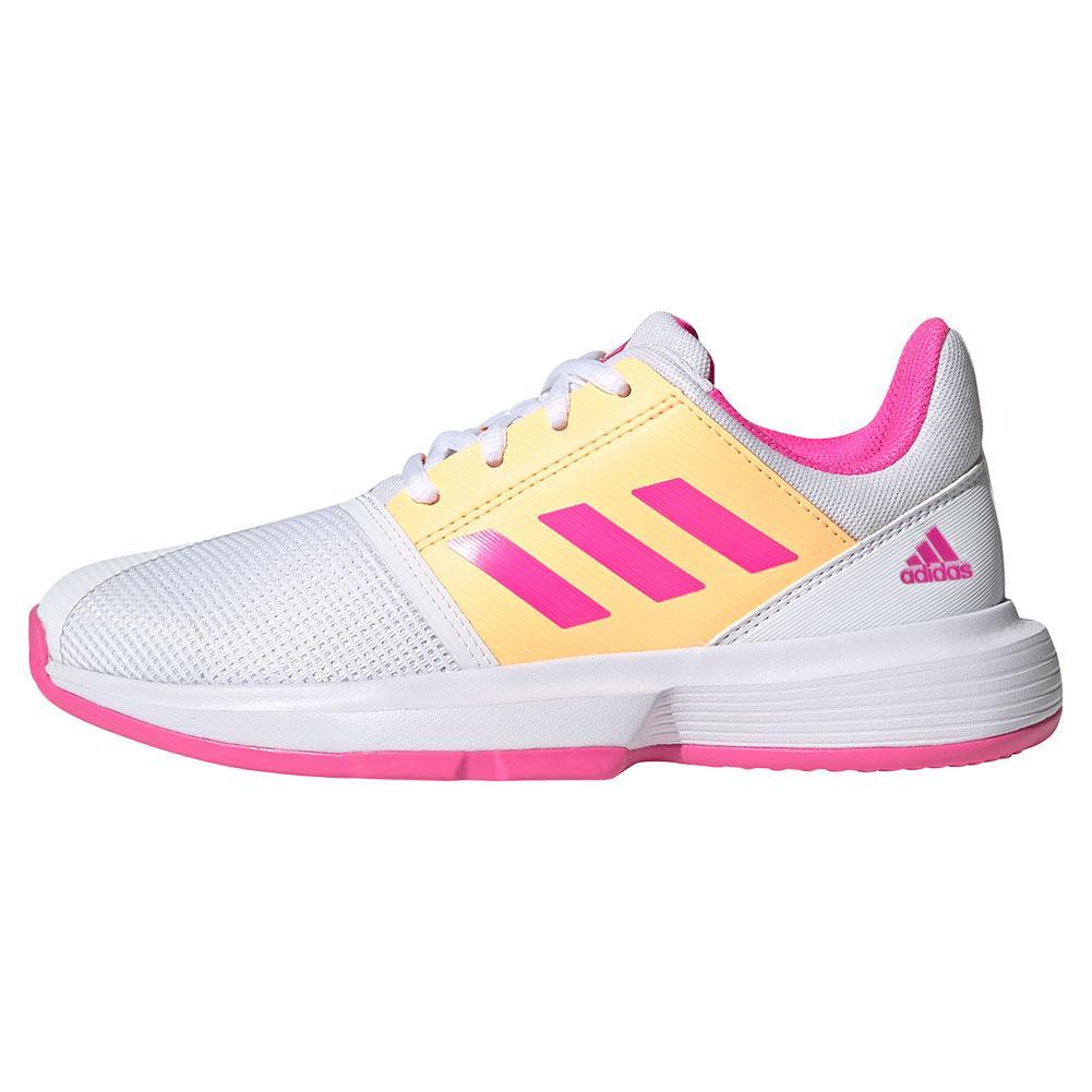 adidas Juniors` CourtJam XJ Tennis Shoes White & Pink