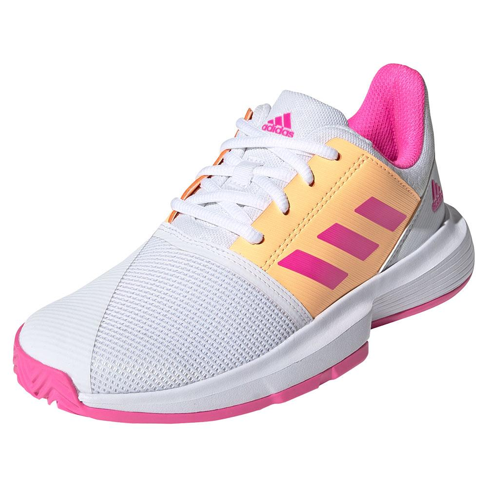 Juniors ` Courtjam Xj Tennis Shoes Footwear White And Screaming Pink