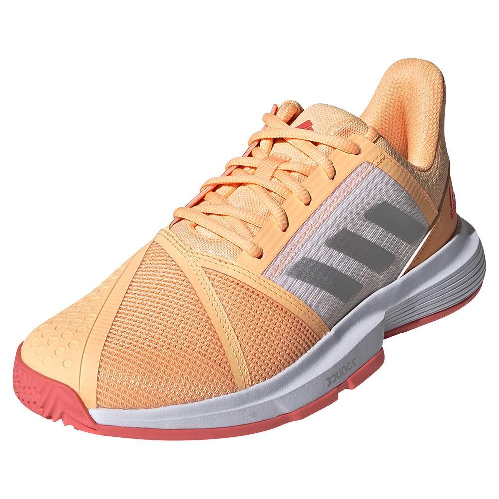 Women's Courtjam Bounce Tennis Shoes Acid Orange And Silver Metallic