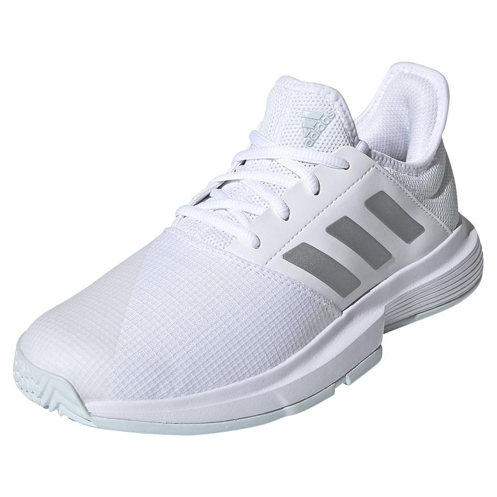 Women's Gamecourt Tennis Shoes Footwear White And Silver Metallic