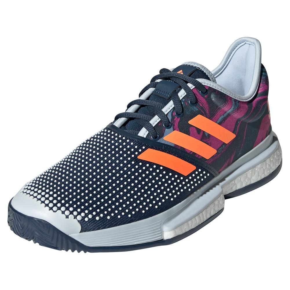 Men's Solecourt Primeblue Mia.Pulco Tennis Shoes Halo Blue And Screaming Pink