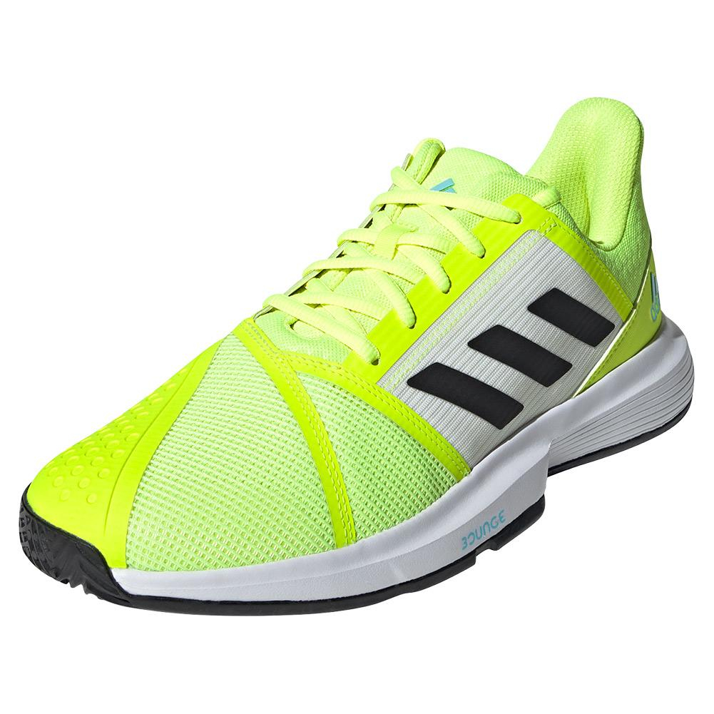 Men's Courtjam Bounce Tennis Shoes Footwear Solar Yellow And Core Black