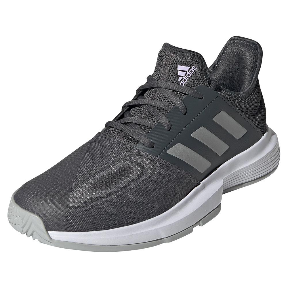 Women's Gamecourt Tennis Shoes Grey Six And Silver Metallic