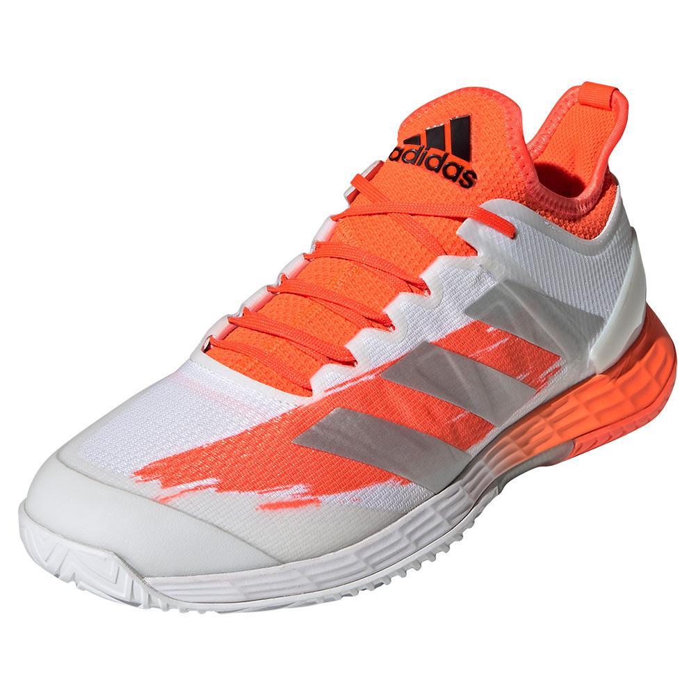 Men's Adizero Ubersonic 4 Tennis Shoes White And Silver Metallic