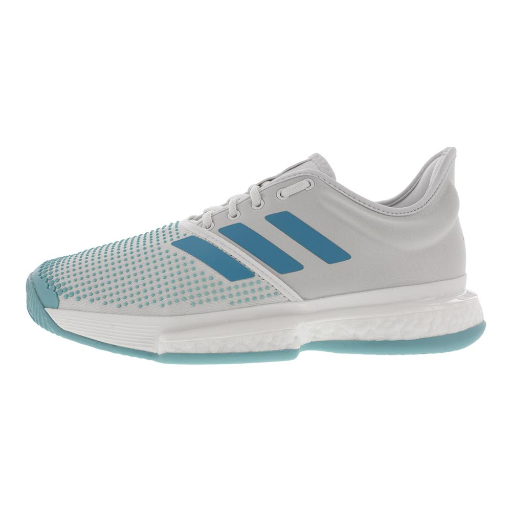 watch 02b50 6fd25 Men s Solecourt Boost Parley Tennis Shoes White And Vapour Blue. Zoom.  Hover to zoom click to enlarge. 360 View