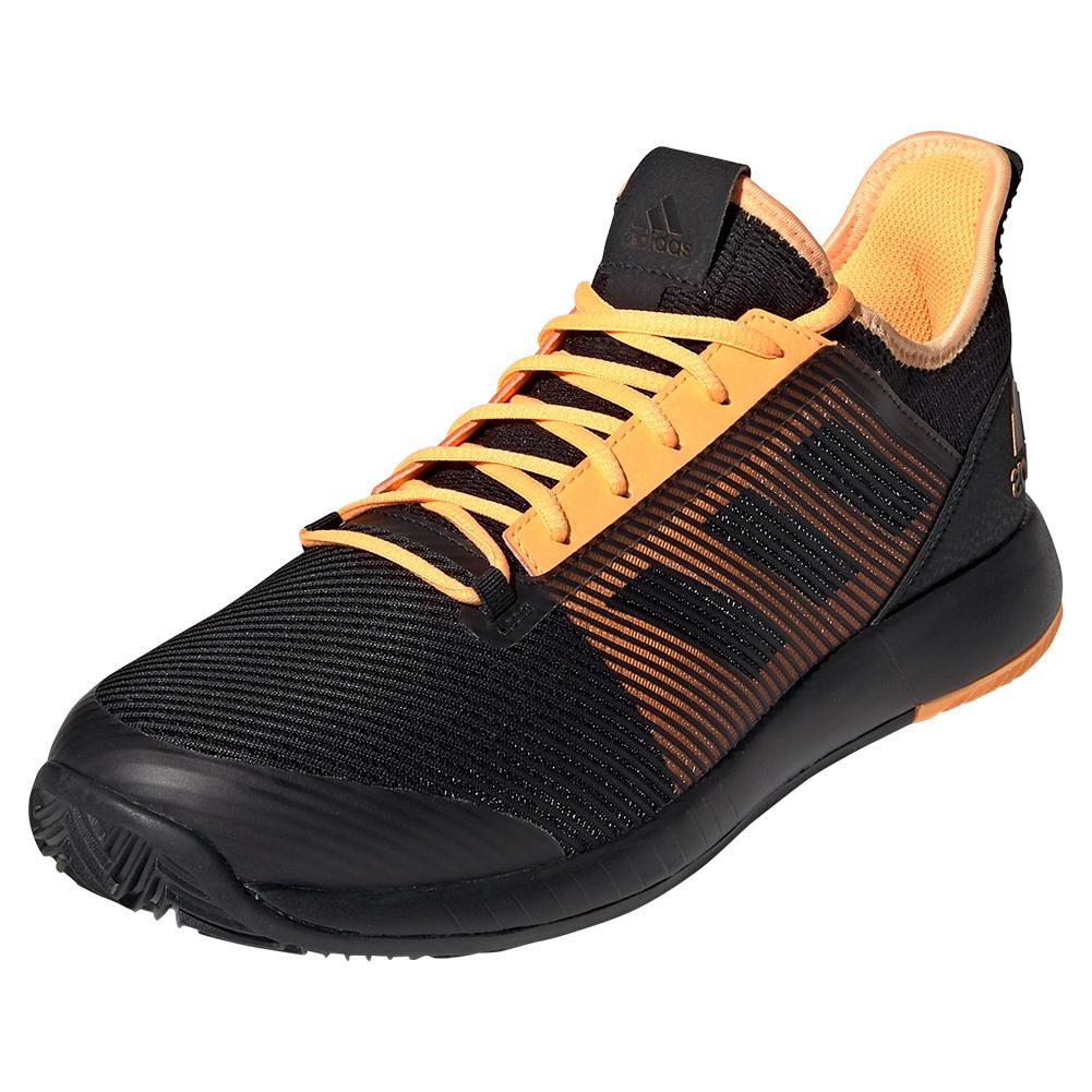 Men's Adizero Defiant Bounce 2 Tennis Shoes Core Black And Flash Orange