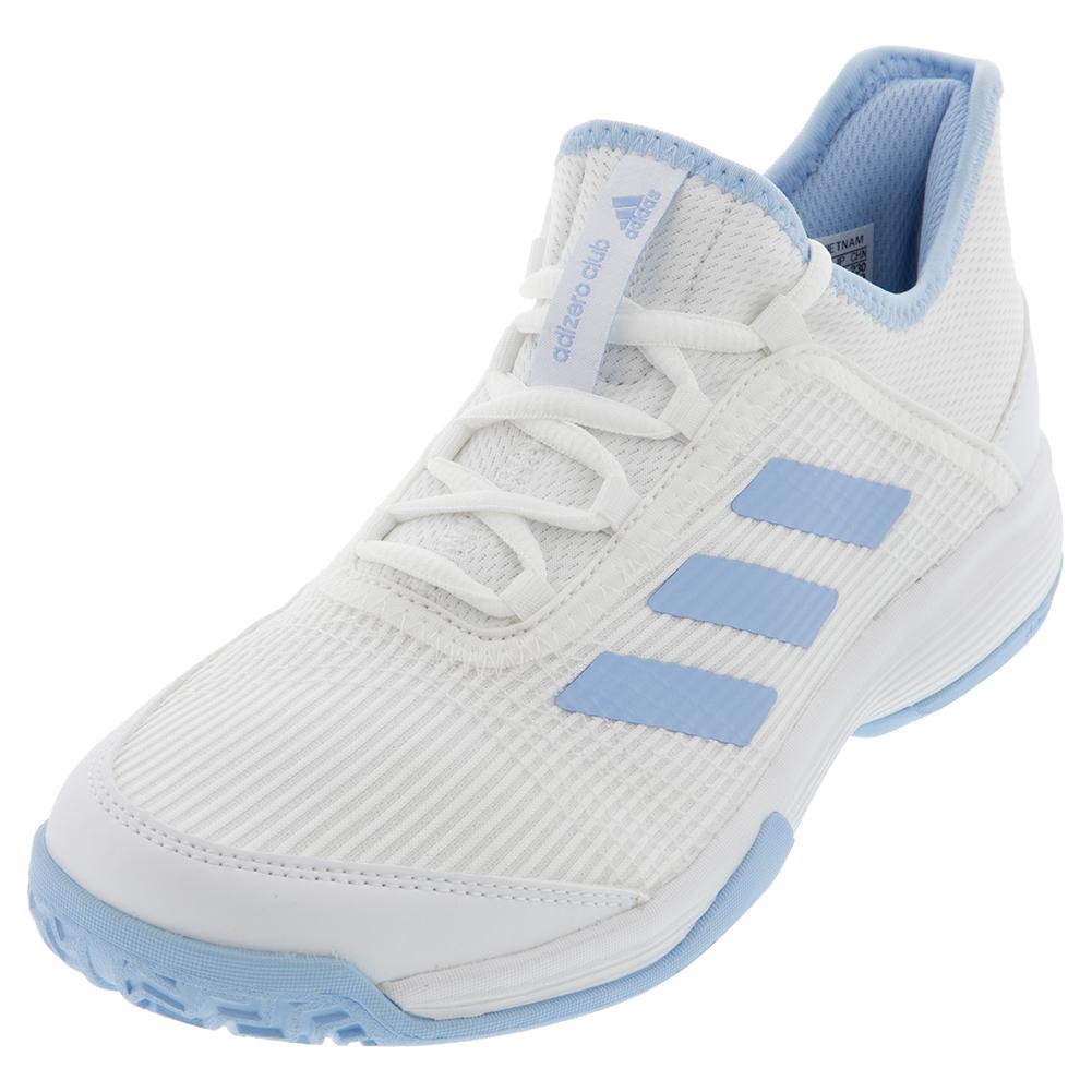 Juniors ` Adizero Club K Tennis Shoes Core White And Glow Blue